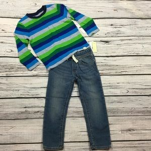 Gap Boys 2T 4T Striped Shirt & Denim Joggers
